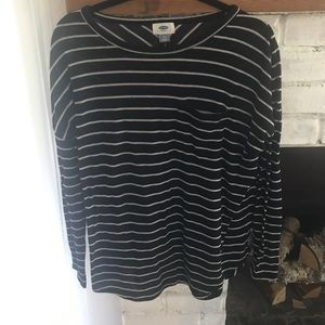 Old navy black and white striped long sleeve shirt
